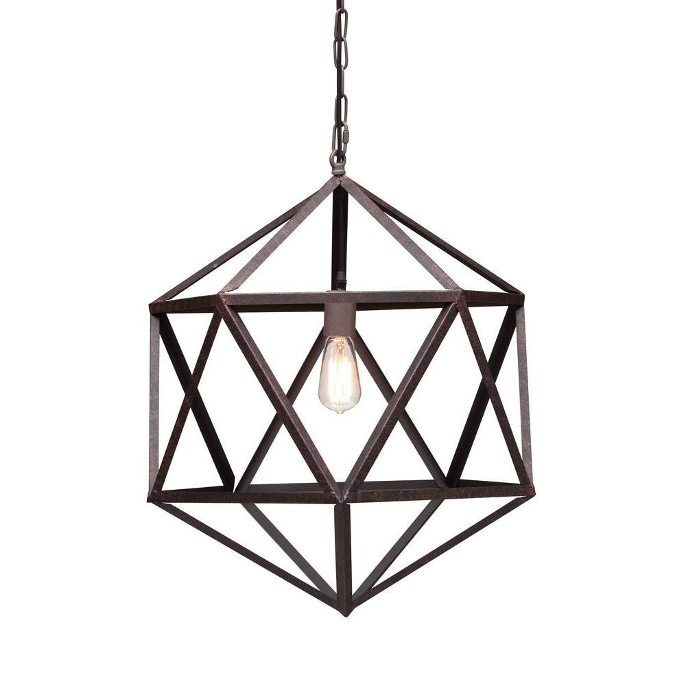 Amethyst 1-Light Rust Ceiling Small Pendant