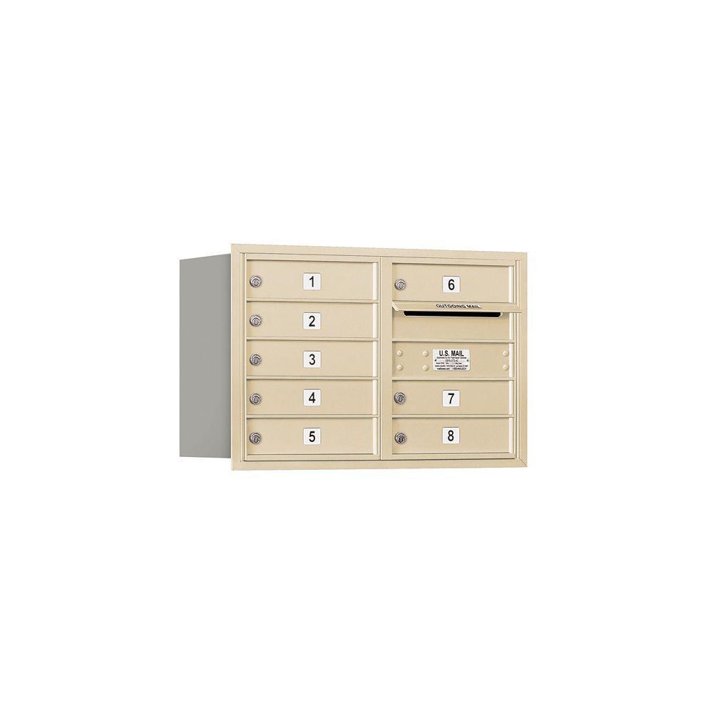 3700 Series 20 in. 5 Door High Unit Sandstone USPS Rear Loading 4C Horizontal Mailbox with 8 MB1 Doors
