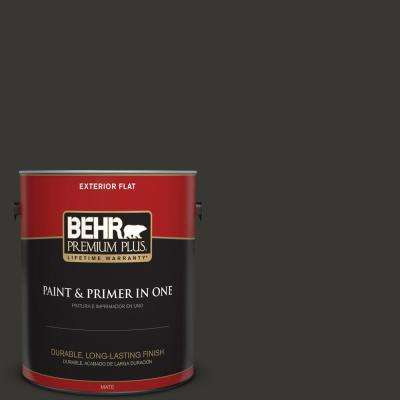 1 gal. Black Flat Exterior Paint and Primer in One