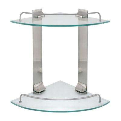 9.5 in. W Double Glass Corner Shelf with Pre-Installed Rails in Satin Nickel