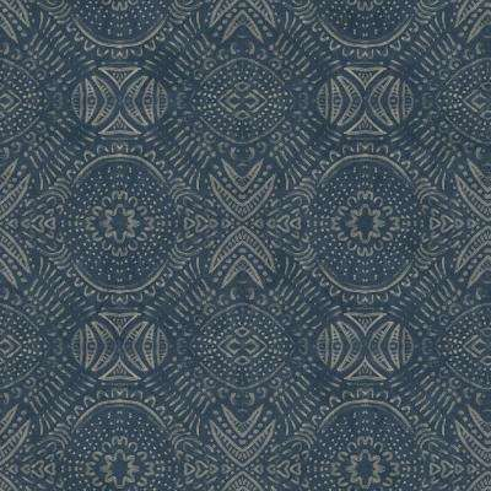 56.4 sq. ft. Java Navy Medallion Wallpaper