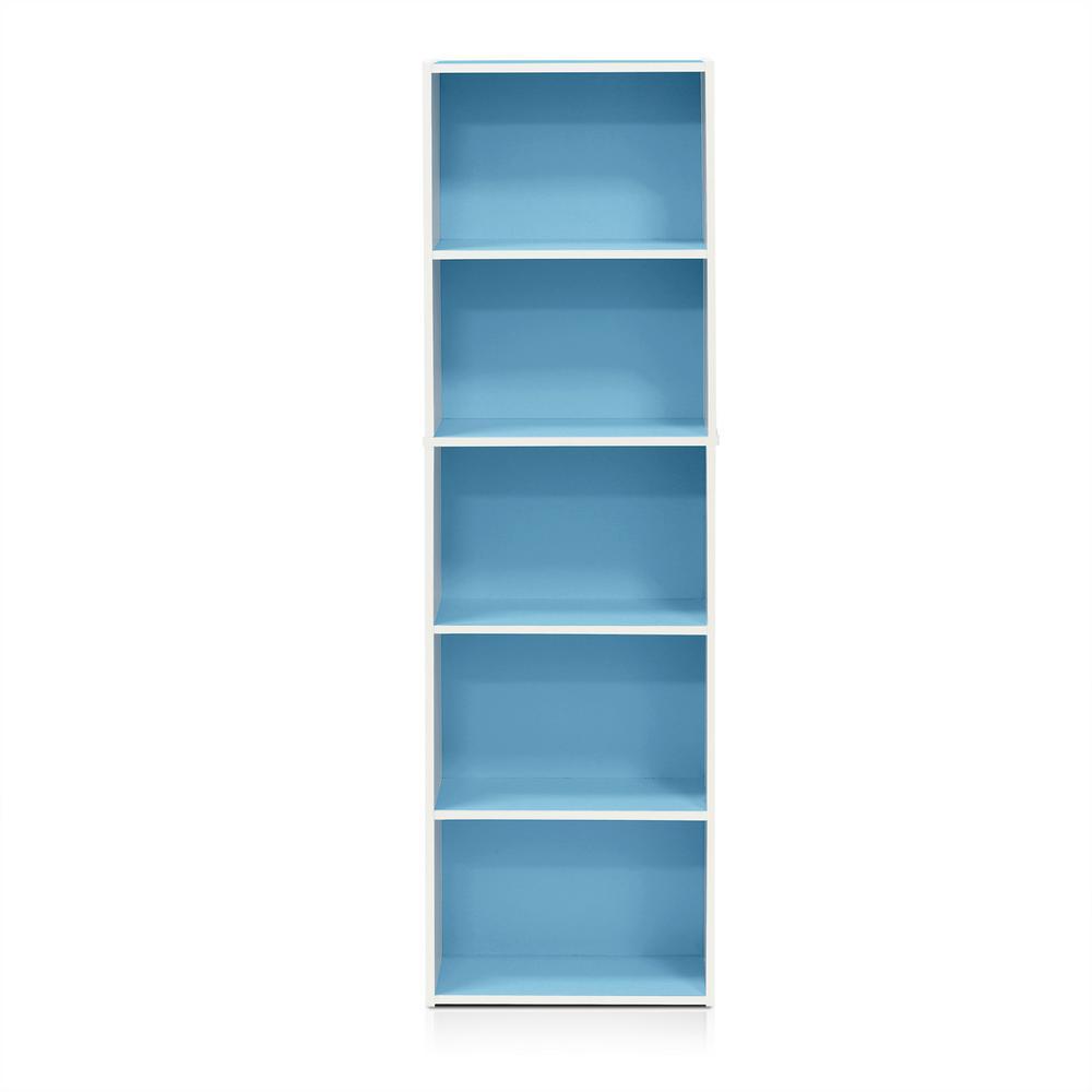 Tropika 52 in. Light Blue/White Faux Wood 5-shelf Standard Bookcase with Storage