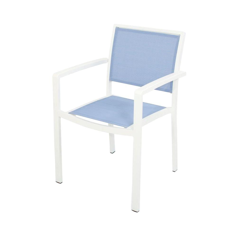 Bayline Satin White All-Weather Plastic/Sling Outdoor Dining Arm Chair in