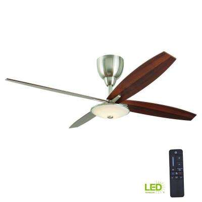 Bailey 56 in. LED Indoor Brushed Nickel Ceiling Fan with Light Kit and Remote Control