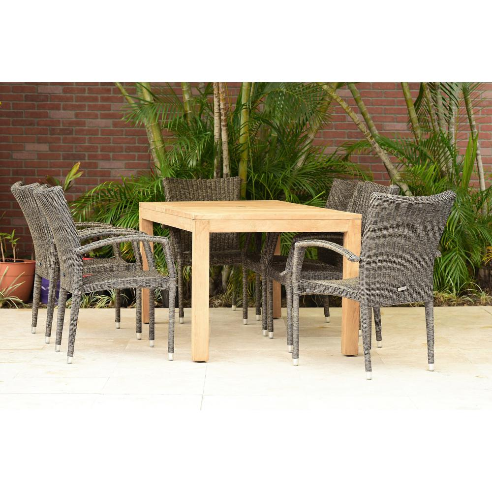 Amazonia Brussels 7 Piece Teak All Weather Wicker Patio Dining Set Sc Brussels The Home Depot