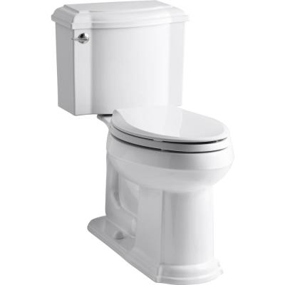Devonshire 2-Piece Single Flush 1.28 GPF Elongated Toilet in White with Cachet Q3 Toilet Seat