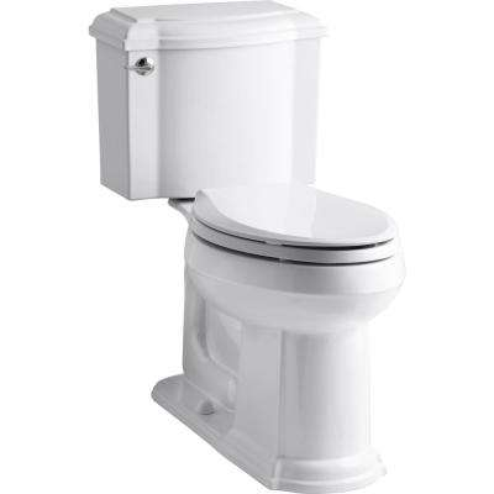 Devonshire 2-Piece Single Flush 1.28 GPF Elongated Toilet in White with Cachet Q3 Toilet Seat