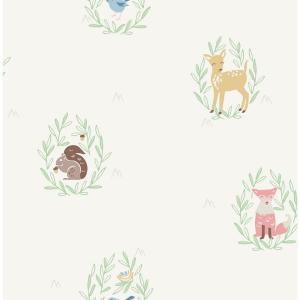Kids Furry Friends Gold, Pink and Brown Wallpaper