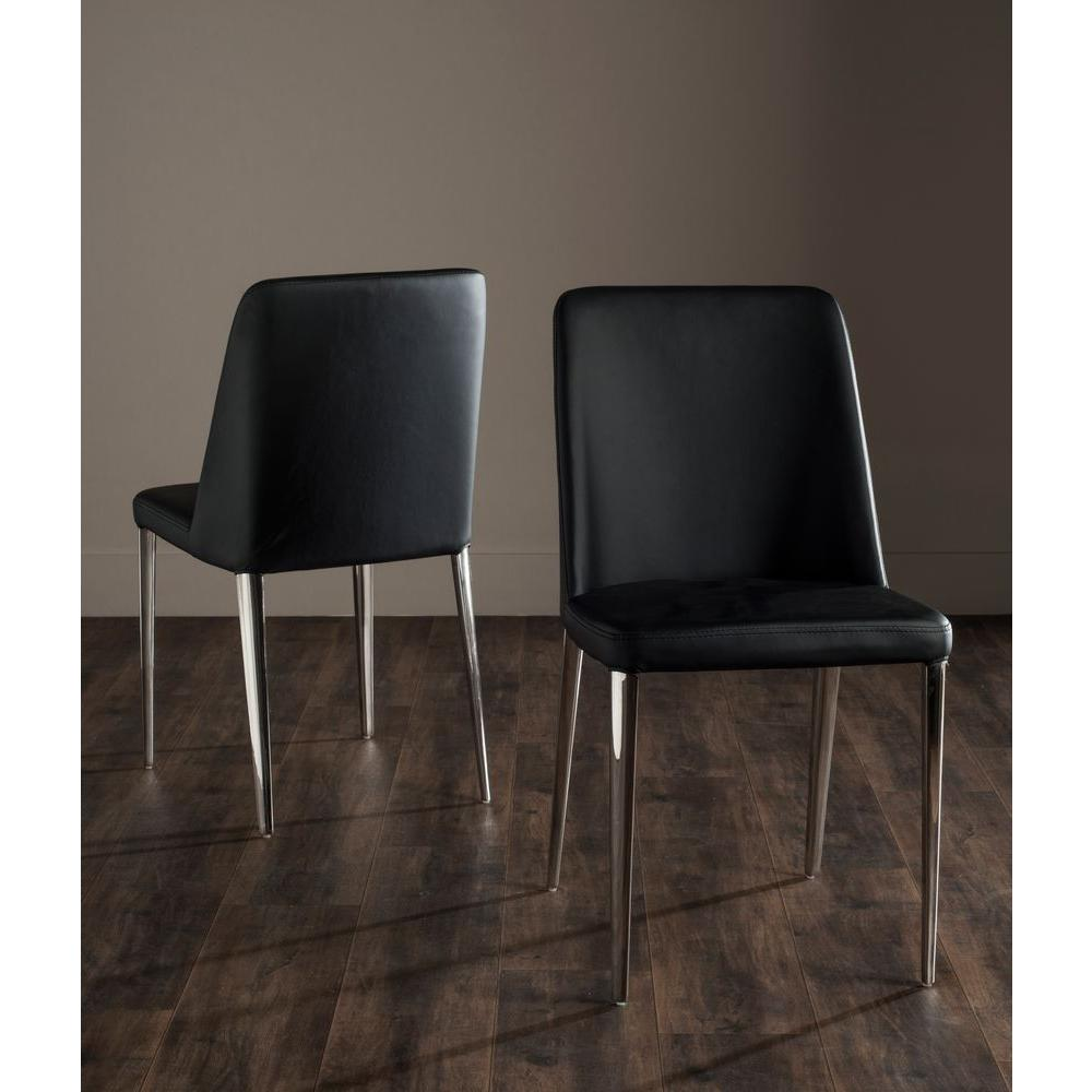 Safavieh Baltic Black Bicast Leather Dining Chair Set Of 2