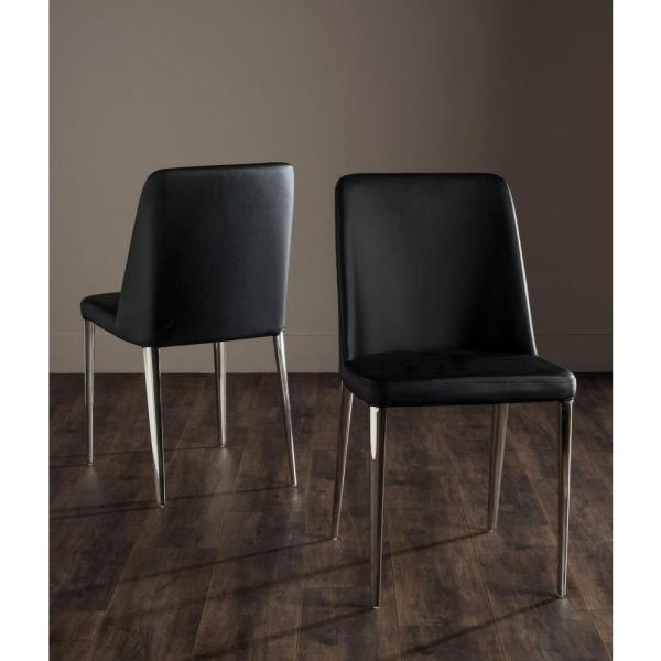 Safavieh Baltic Black Bicast Leather Dining Chair (Set of 2)