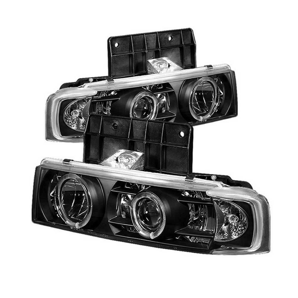 Chevy Astro 95 05 Gmc Safari Projector Headlights Led Halo Black