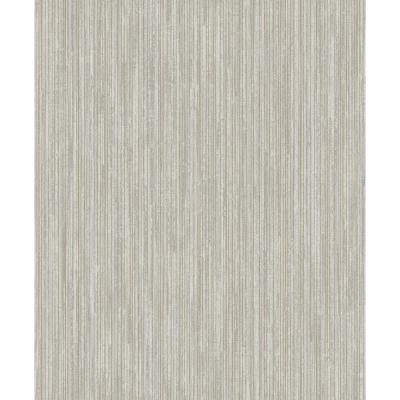 Grey and Gold Metallic Textured Pinstripe Dry Strippable Wallpaper Double Roll 57 sq. ft.