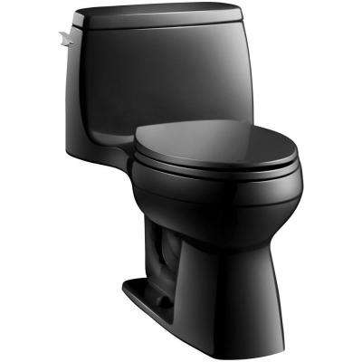 Santa Rosa Comfort Height 1-piece 1.6 GPF Single Flush Compact Elongated Toilet with AquaPiston Flush in Black Black