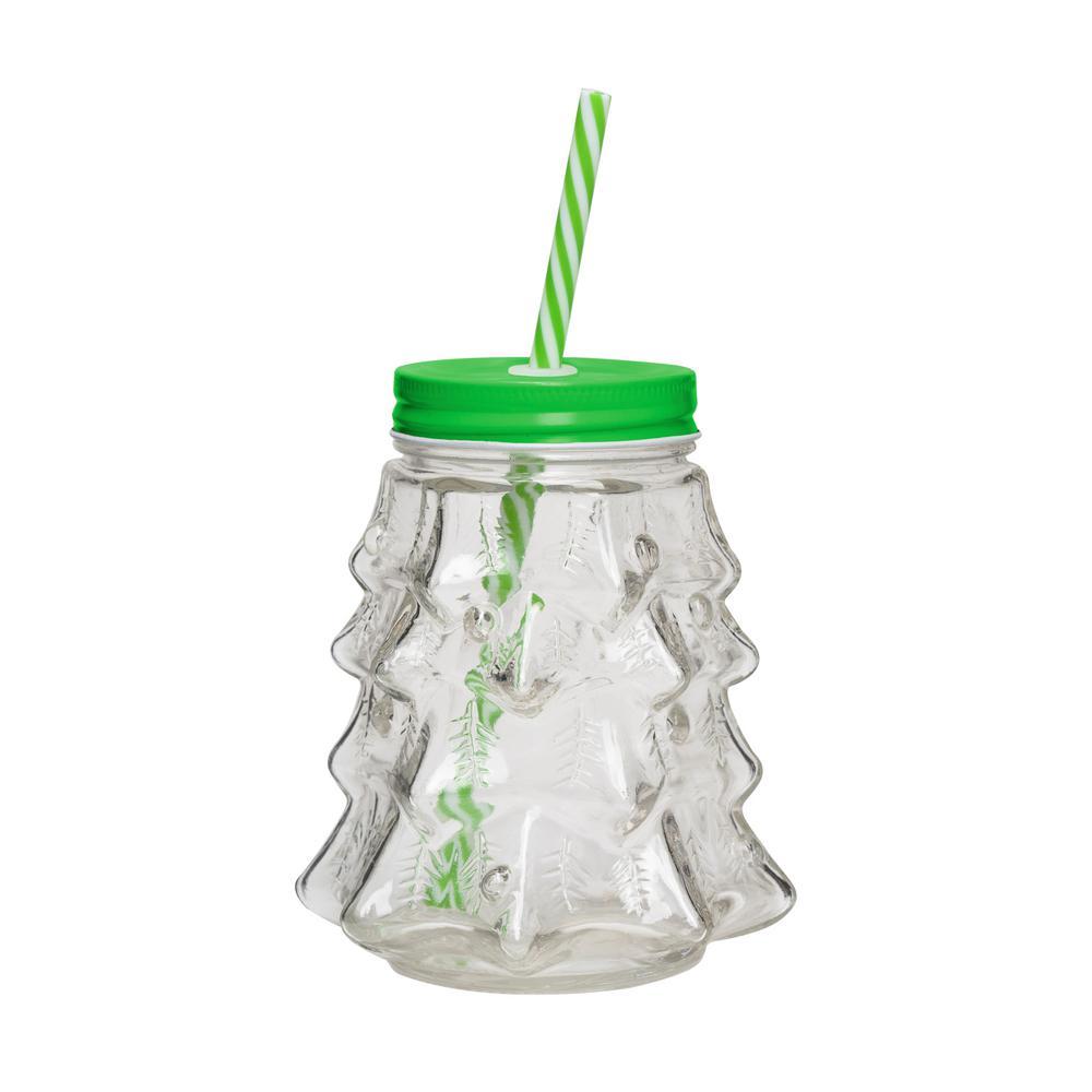 Deck the Halls 20 oz. 4-Piece Clear Glass Christmas Tree Mason Jar Drinkware Set