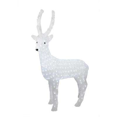 41 in. Pre-Lit Commercial Grade Acrylic Reindeer Christmas Display Decoration - Polar White LED Lights