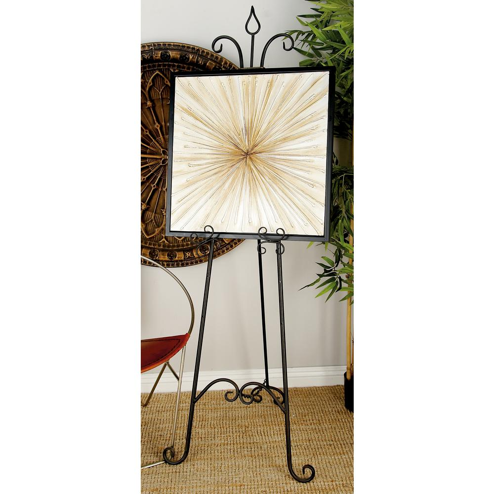 66 in. x 23 in. Beaux Arts Tarnished Black Iron Easel