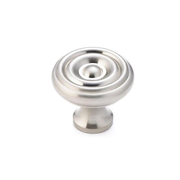 1-1/4 in. (32 mm) Brushed Nickel Traditional Brass Cabinet Knob