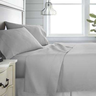4-Piece Light Gray 300 Thread Count Cotton King Bed Sheet Set