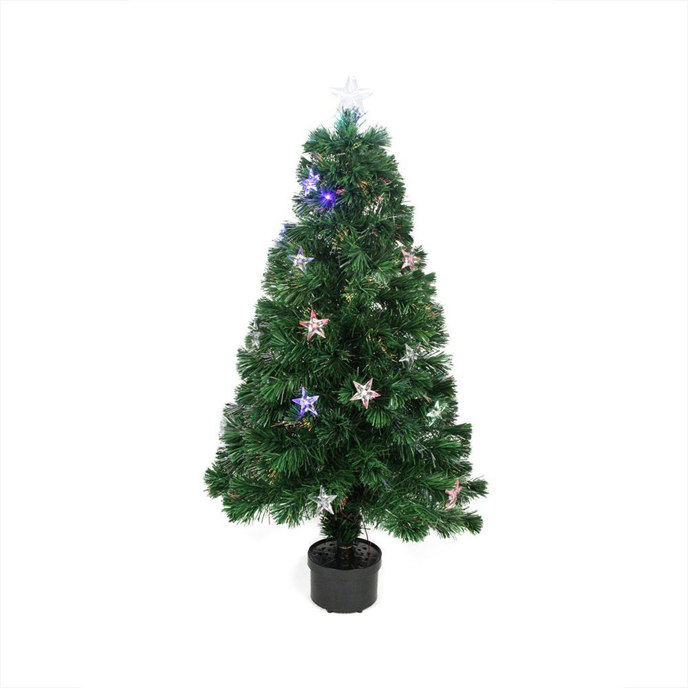 Optic Fiber Christmas Tree: Northlight 4 Ft. Pre-Lit LED Color Changing Fiber Optic