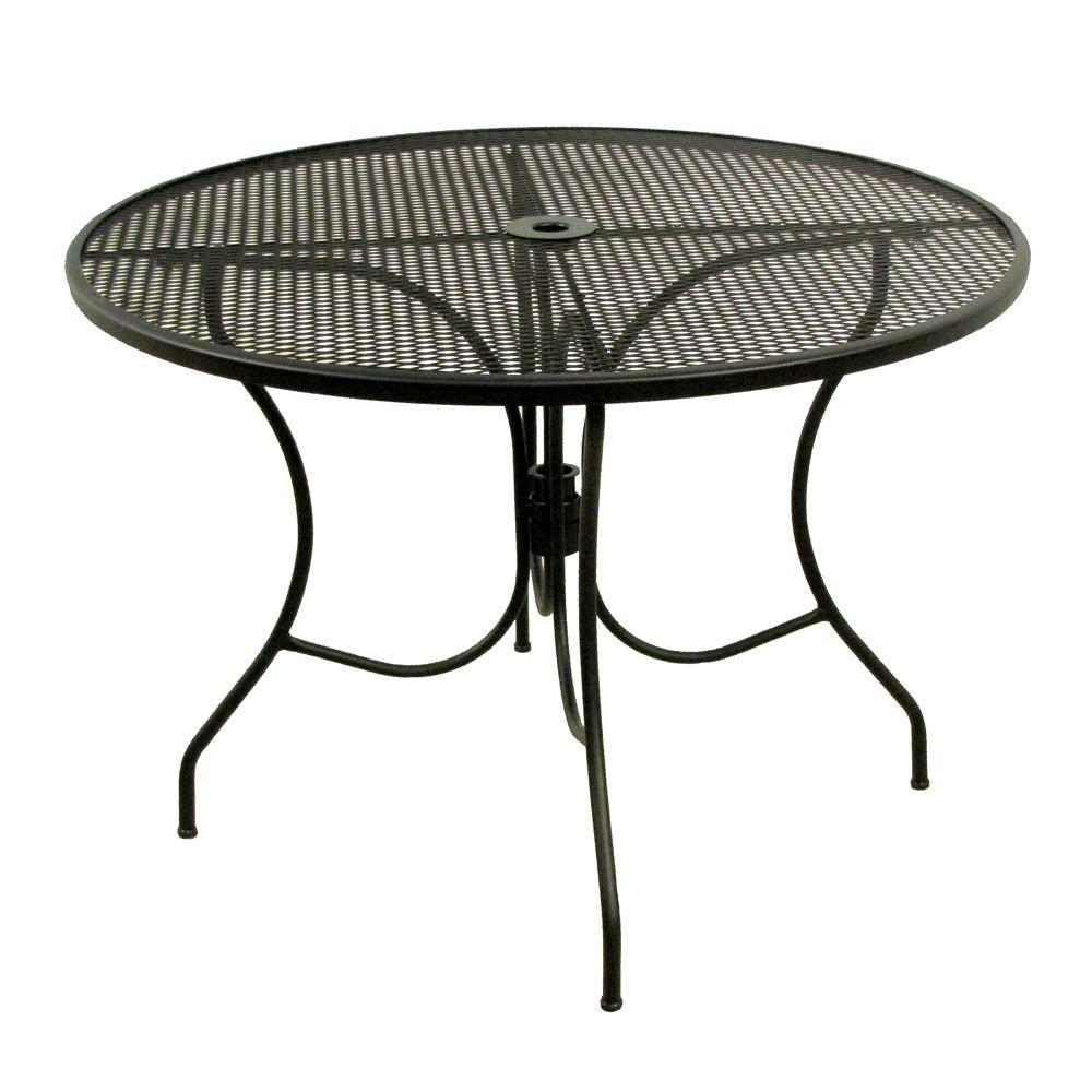 Arlington House Glenbrook Black 42 In Round Mesh Patio Dining Table Durable Wrought Iron Frame