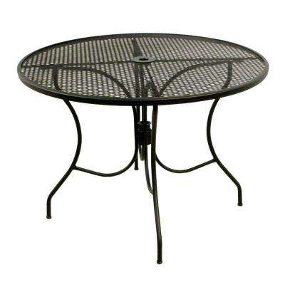 Glenbrook Black 42 in. Round Mesh Patio Dining Table