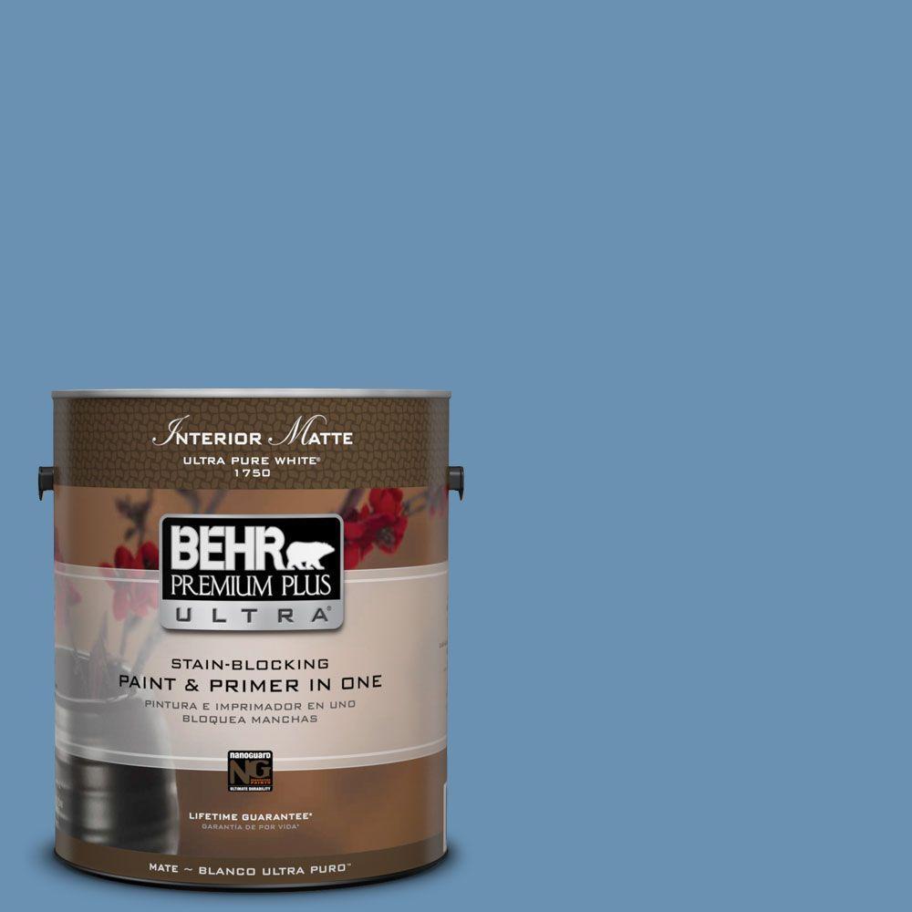 BEHR Premium Plus Ultra 1 gal. #M510-4 Brittany Blue Matte Interior Paint