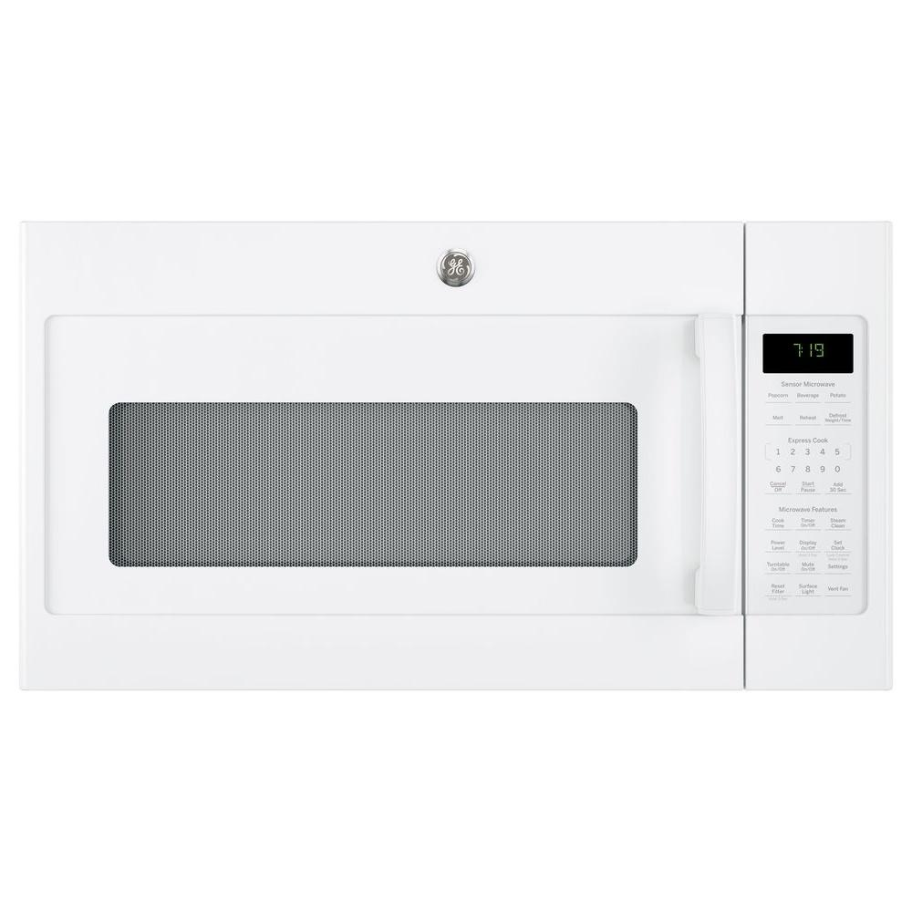 1.9 cu. ft. Over the Range Microwave in White with Sensor Cooking Your GE 1.9 cu. ft. Over the Range Sensor Microwave Oven with Recirculating Venting in White has 1000-Watt of power. Four-speed with boost, 400-CFM venting fan system quickly removes smoke, steam and odors from the cooktop to keep kitchen air fresh and clean. Weight and time defrost lets you simply enter the weight of the food, and the oven automatically sets the optimal defrosting time and power level or set your desired time for defrosting. GE appliances provide up-to-date technology and exceptional quality to simplify the way you live. With a timeless appearance, this family of appliances is ideal for your family. And, coming from one of the most trusted names in America, you know that this entire selection of appliances is as advanced as it is practical.