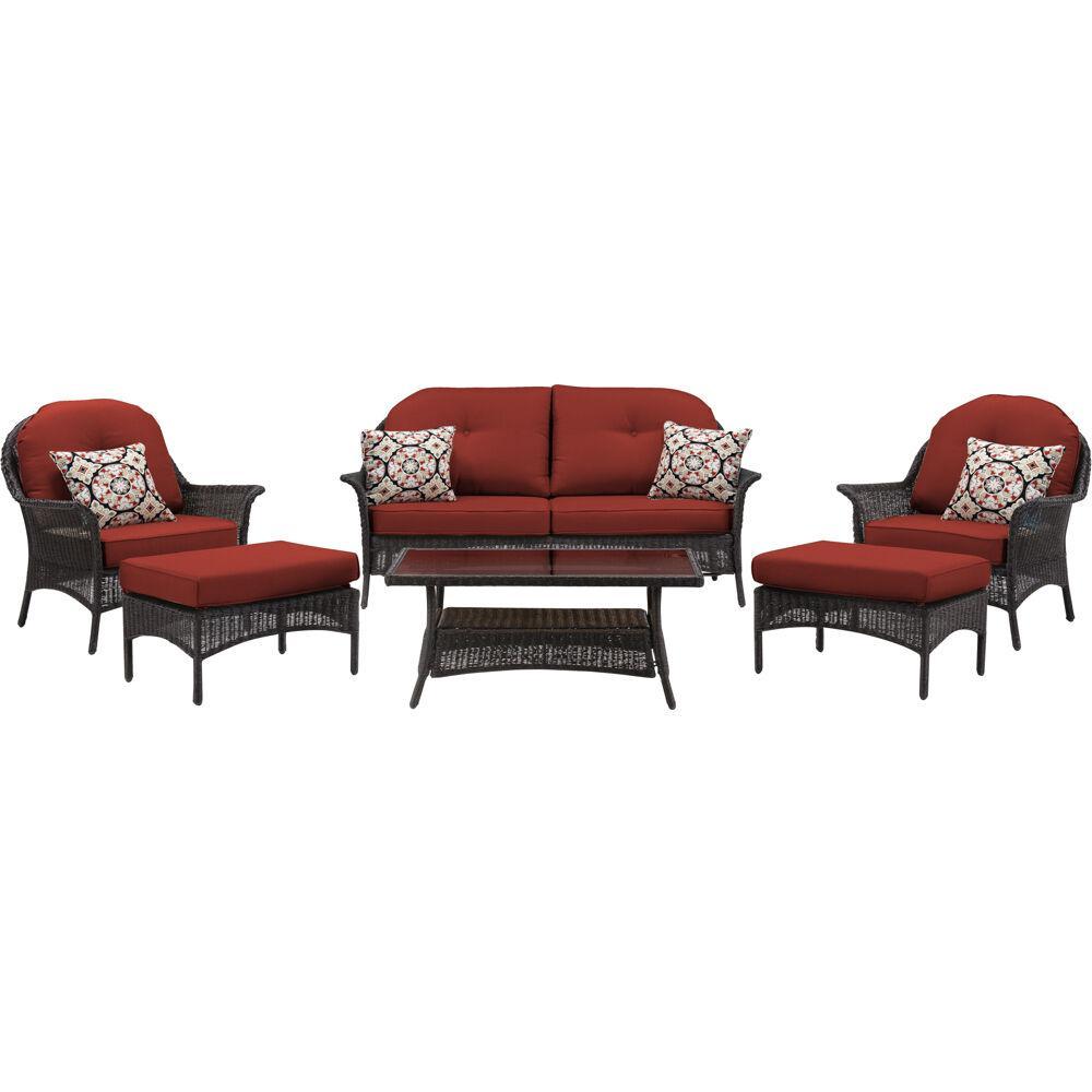 Hanover Sun Porch 6 Piece Wicker Patio Conversation Set With Plush Crimson Red Cushions