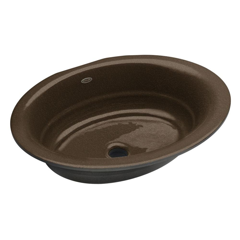 Kohler Serif Undermount Cast Iron Bathroom Sink In Black 39 N Tan K 2824 Ka The Home Depot