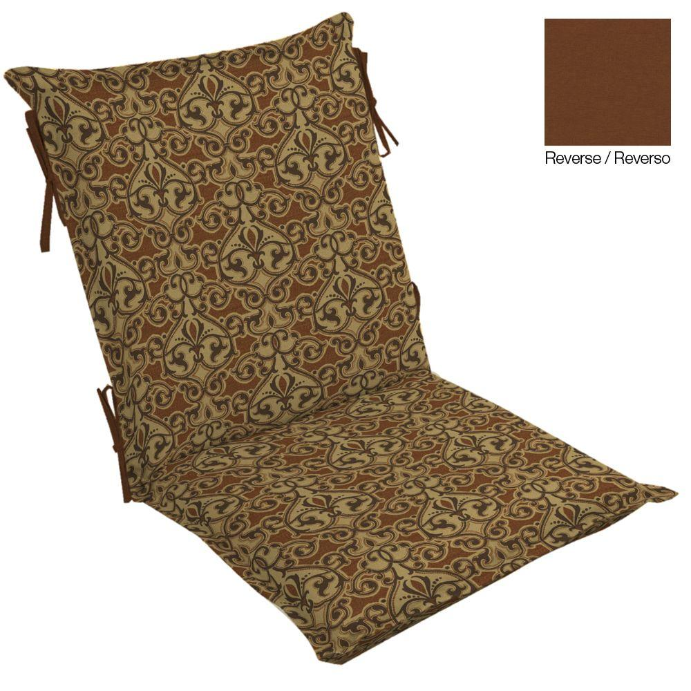 Hampton Bay Cayenne Scroll High Back Outdoor Chair Cushion