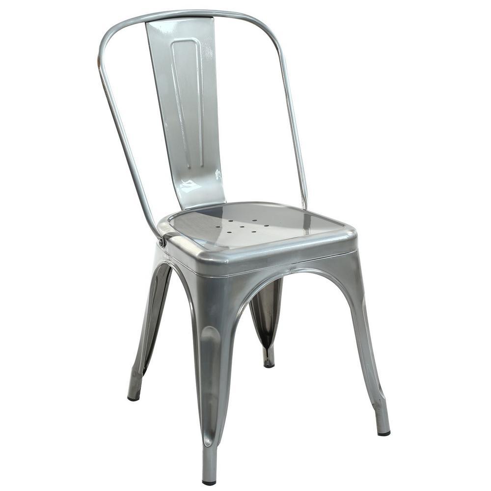 PolyandBark Poly and Bark Trattoria Polished Gunmetal Side Chair (Set of 2)