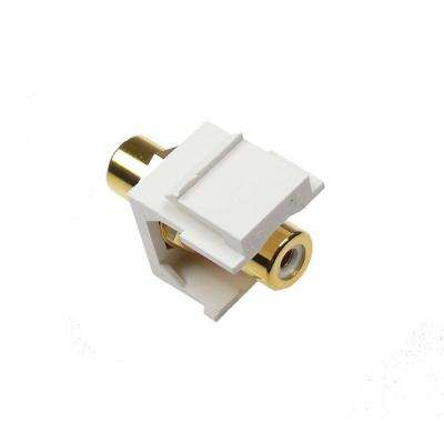 RCA White F/F Feed-Through Snap-In Keystone Jack Insert - White