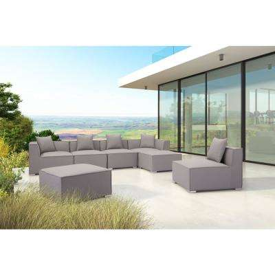 Fiji Gray Aluminum Corner Outdoor Sectional Chair With Gray Cushion