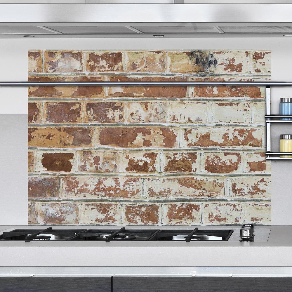 Brown Old Bricks Kitchen Panel Wall Decal