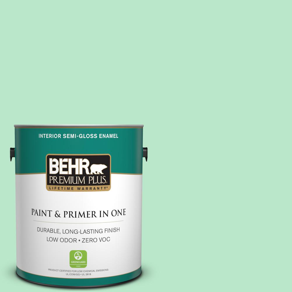 1-gal. #460A-3 Canton Jade Zero VOC Semi-Gloss Enamel Interior Paint