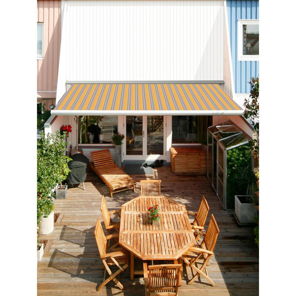 Advaning 12 Ft Luxury L Series Semi Cassette Manual Retractable Patio Awning 118 In Projection In Yellow Gray Stripes Ma1210 A423h2 The Home Depot