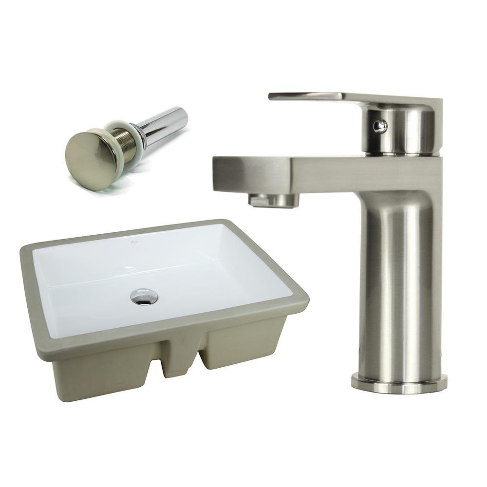 Kingsman Hardware 22-1/8 in. Rectangle Undermount Vitreous Glazed Ceramic Sink with Brushed Nickel Bathroom Faucet /Pop-up Drain Combo