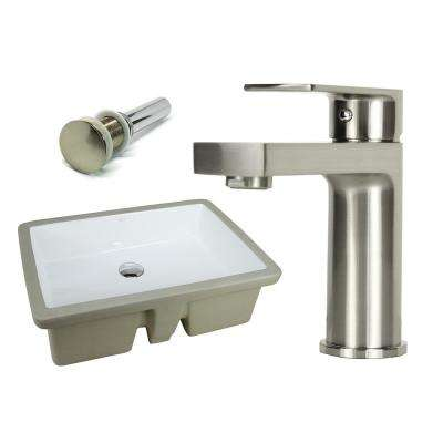 22-1/8 in. Rectangle Undermount Vitreous Glazed Ceramic Sink with Brushed Nickel Bathroom Faucet /Pop-up Drain Combo