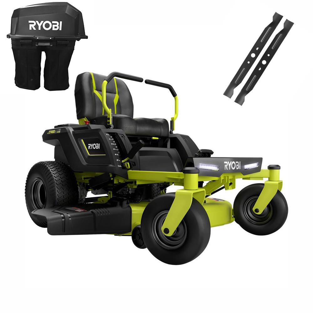 RYOBI 42 in. 75-Amp Battery Electric Zero Turn Riding Mower and Bagging Kit