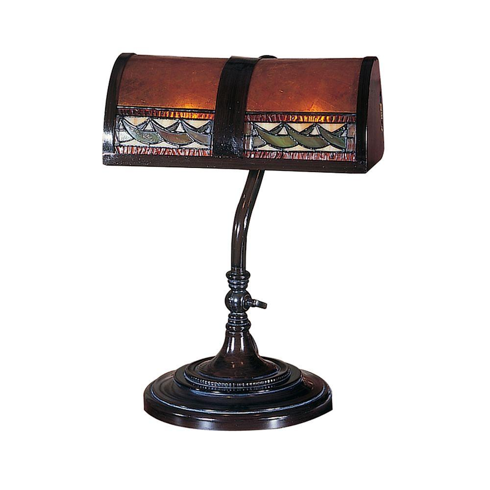 Dale Tiffany 14 in. Egyptian Mica Bronze Desk Lamp