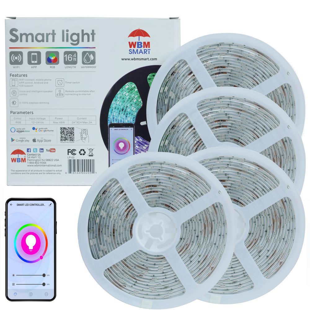 LED Multi-Color Strips Light, RGB Strips Light, Wi-Fi Lamp (1x5M) (Pack of 4)