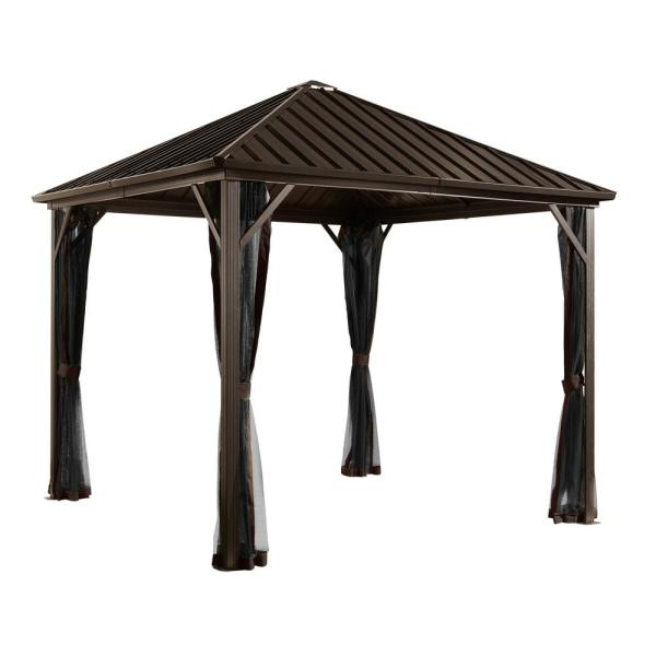 10 ft. D x 12 ft. W Dakota Aluminum Gazebo with Galvanized Steel Roof Panels, 2-Track System, and Mosquito Netting
