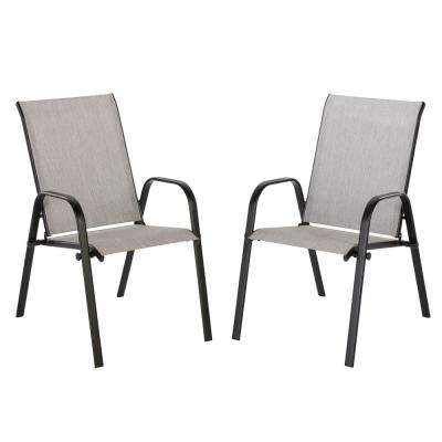 Mix and Match Black Stackable Sling Outdoor Dining Chair in Wet Cement (2-Pack)