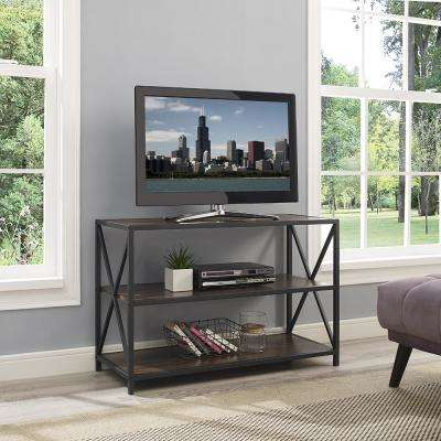 40 in. X-Frame Metal and Wood Media Bookshelf in Dark Walnut
