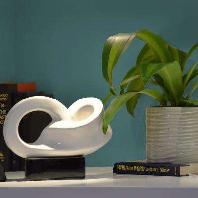 8.25 in. H Abstract Decorative Sculpture in White Gloss Finish