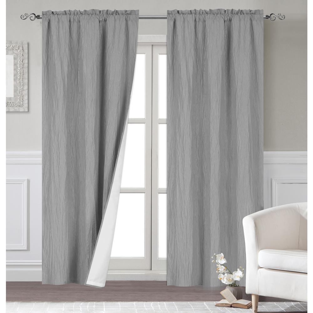 Dainty Home Venetian 96 In Polyester Extra Long Blackout Window Curtain Panel Pair With Thermal