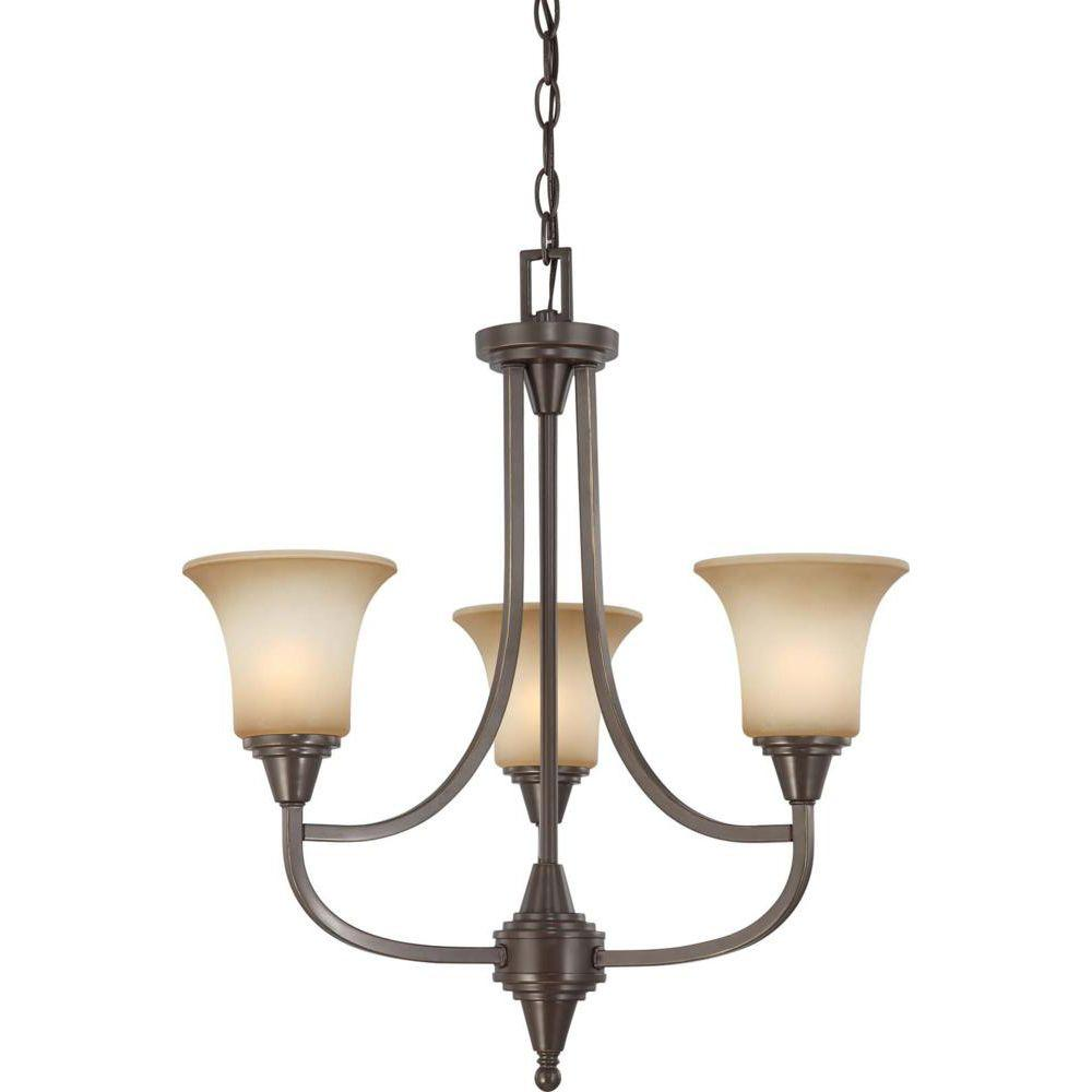Glomar 3-Light Vintage Bronze Chandelier With Auburn Beige