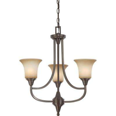 3-Light Vintage Bronze Chandelier with Auburn Beige Glass Shade
