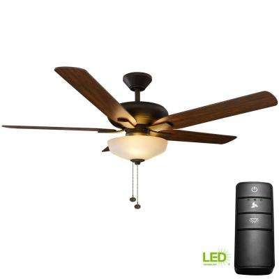 Holly Springs 52 in. LED Oil-Rubbed Bronze Ceiling Fan with Light Kit and Remote Control
