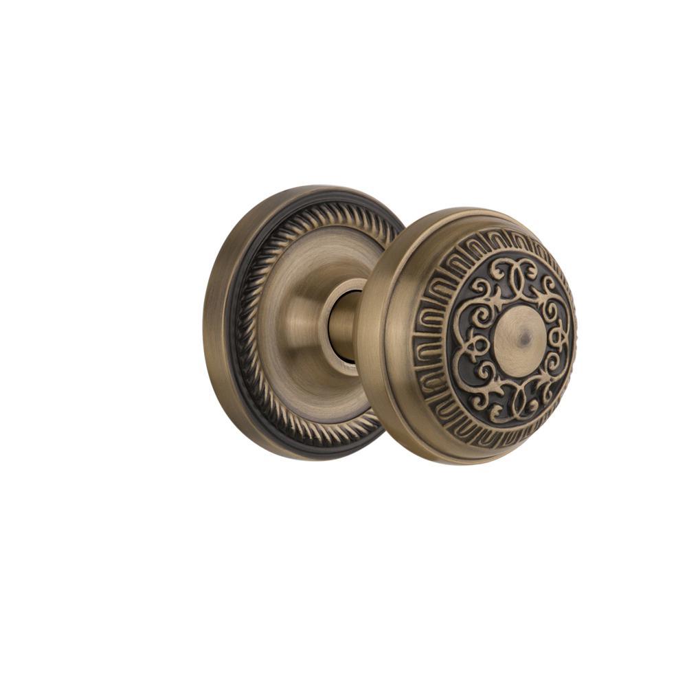 Rope Rosette 2-3/8 in. Backset Antique Brass Passage Hall/Closet Egg and Dart Door Knob